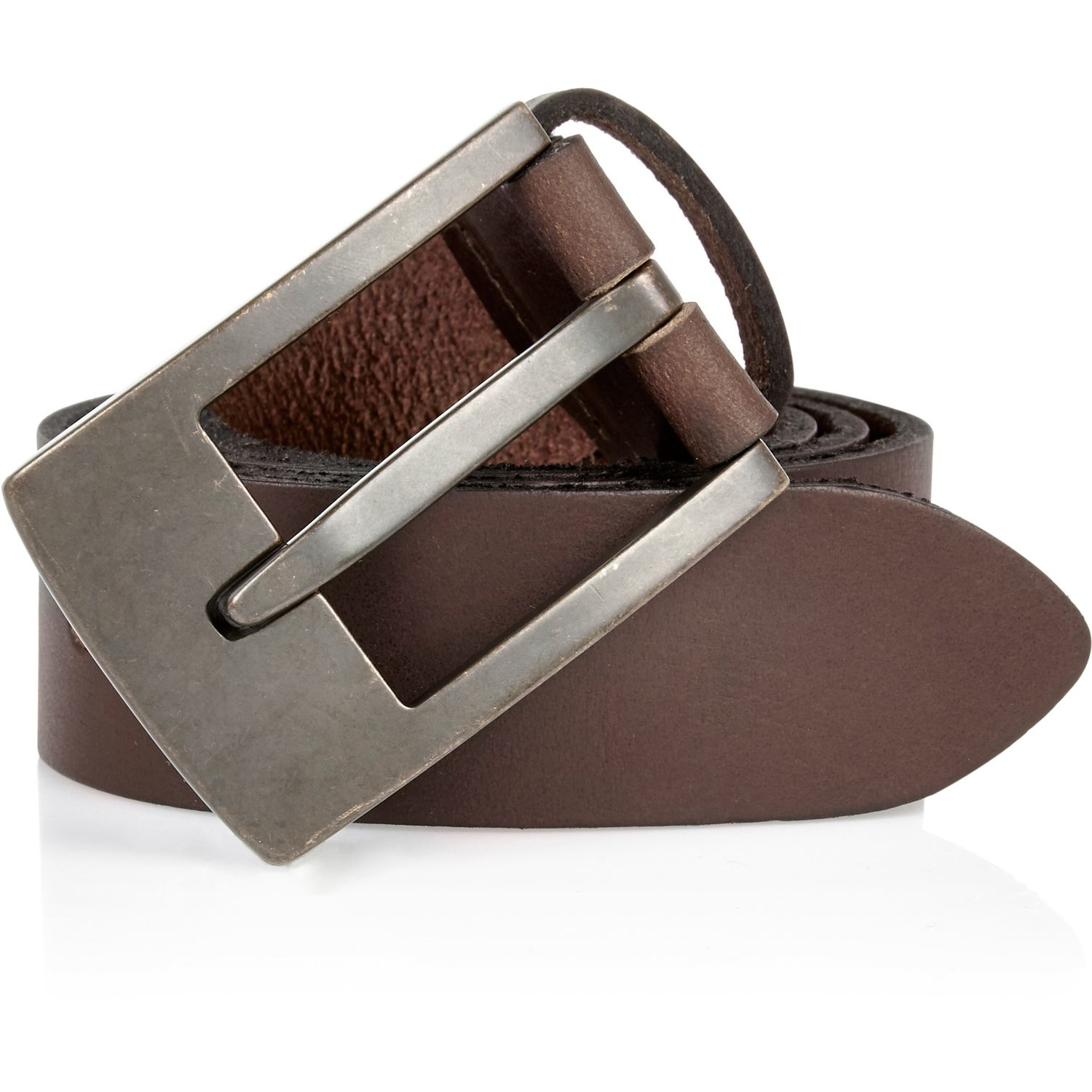 river island brown leather brass buckle belt in brown for