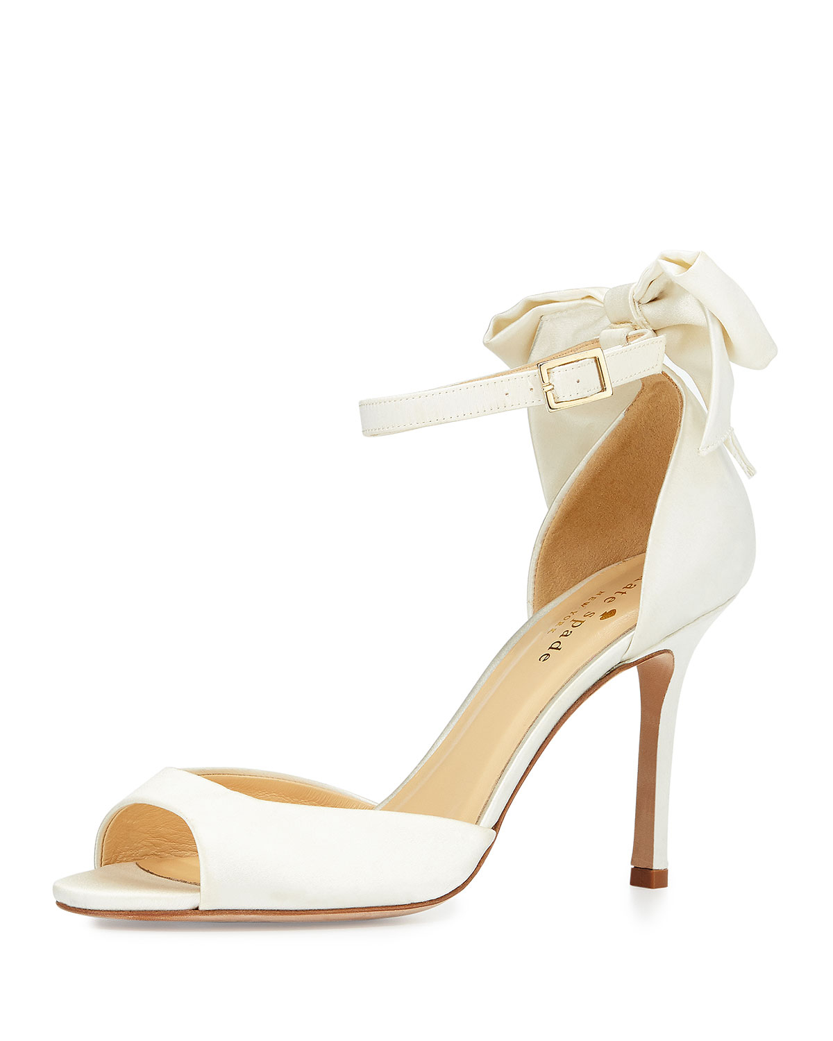 Kate spade izzie bow back satin d orsay pump in white ivory lyst