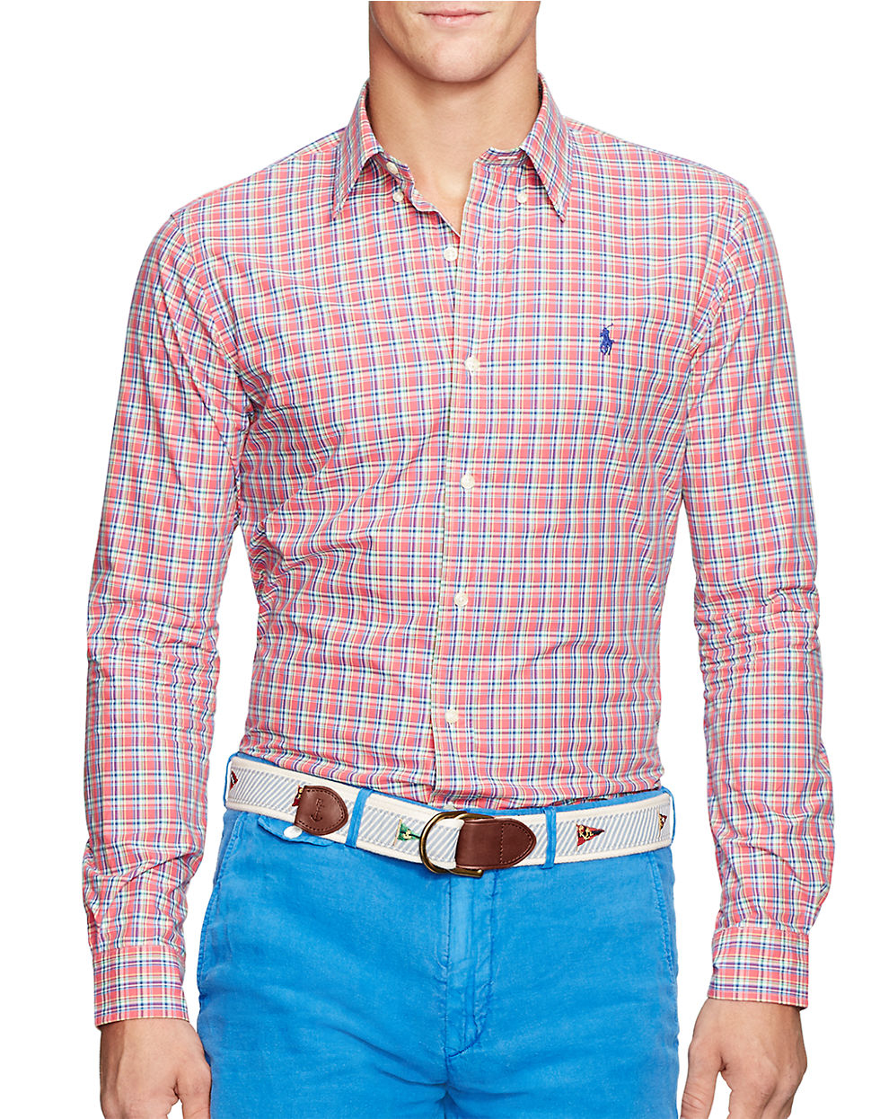 087434ccf Polo Ralph Lauren Checked Poplin Shirt in Red for Men - Lyst