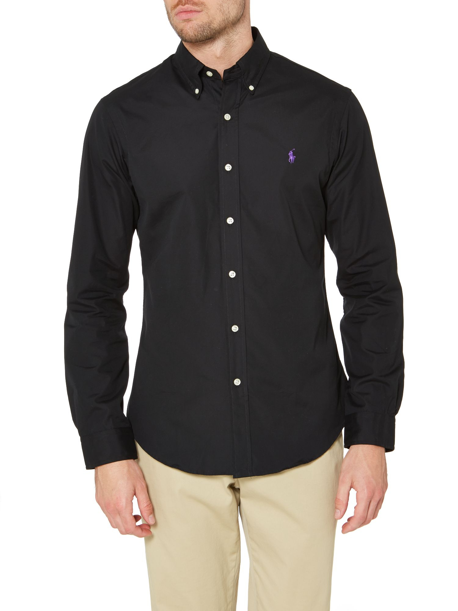 Polo ralph lauren long sleeve slim fit plain shirt in for Black fitted polo shirt