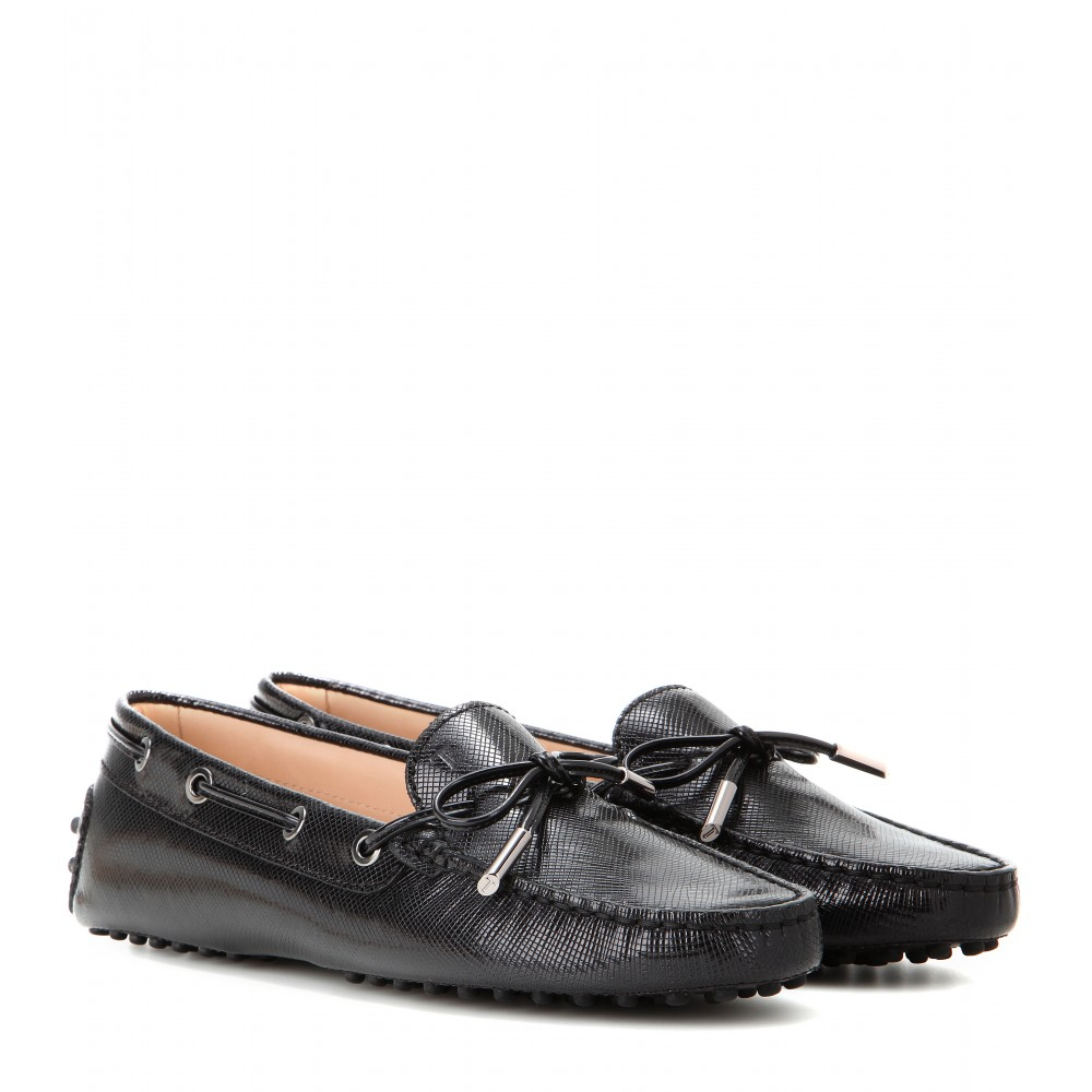 Tod S Heaven New Laccetto Leather Loafers In Black Lyst
