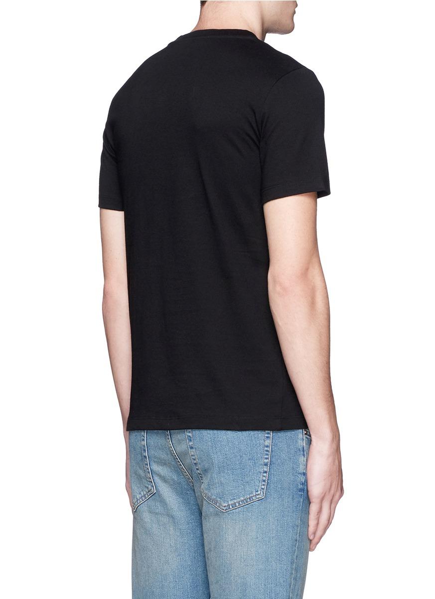 Lyst Mcq Logo Flower Print T Shirt In Black For Men