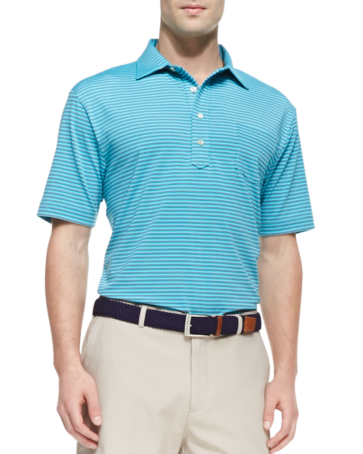 Peter millar e4 maritime striped polo in blue for men lyst for Peter millar women s golf shirts