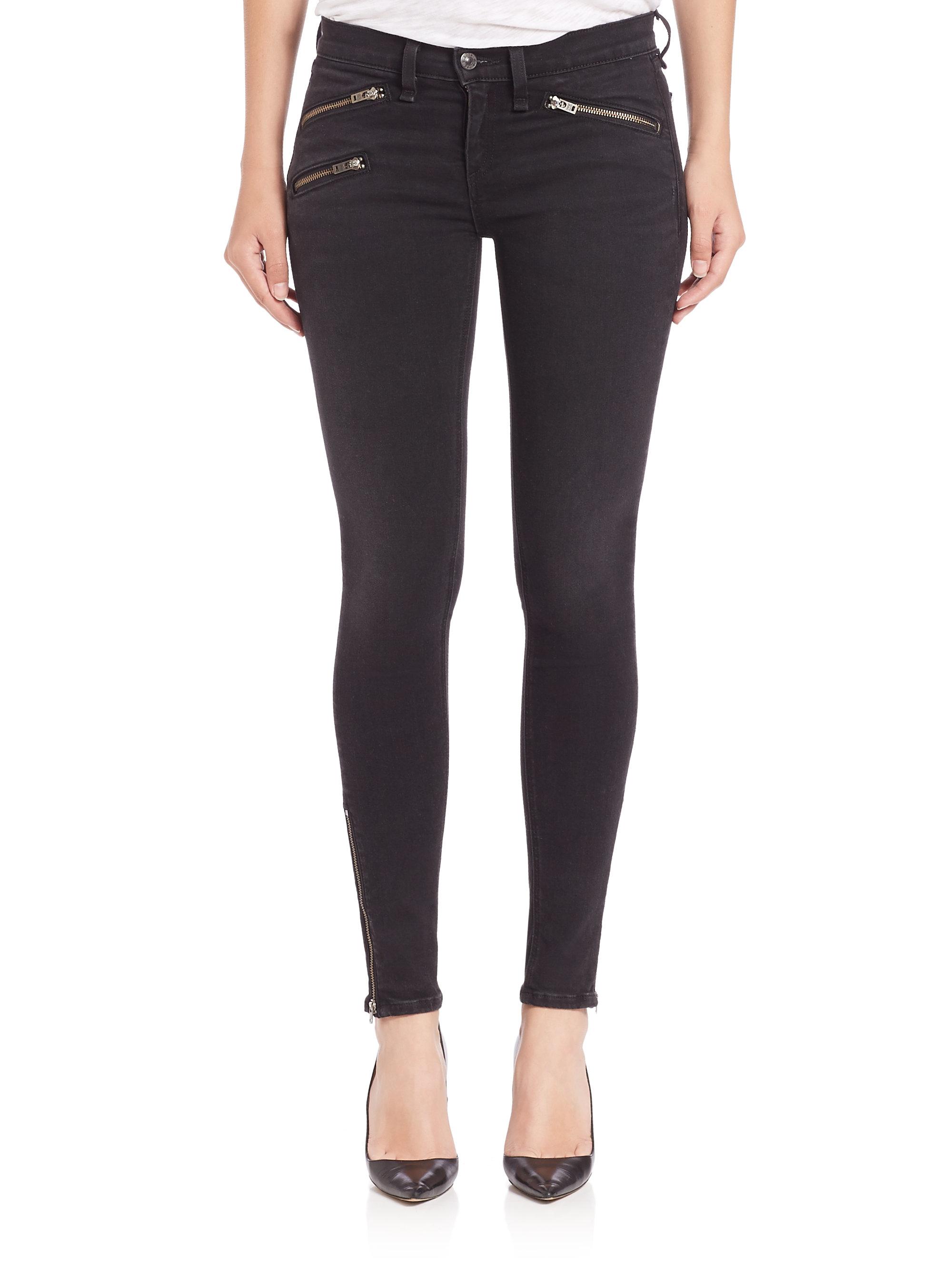 Rag & bone Rbw 23 Zip Skinny Jeans in Black | Lyst