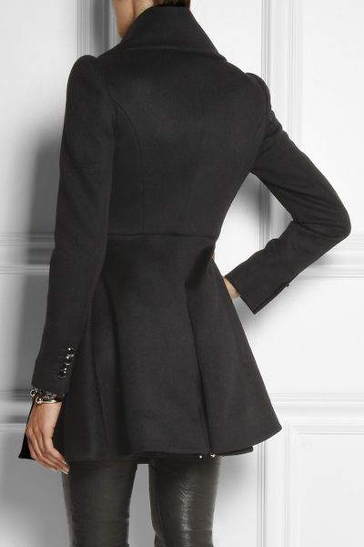 Alexander Mcqueen Wool And Cashmere Blend Coat In Black Lyst