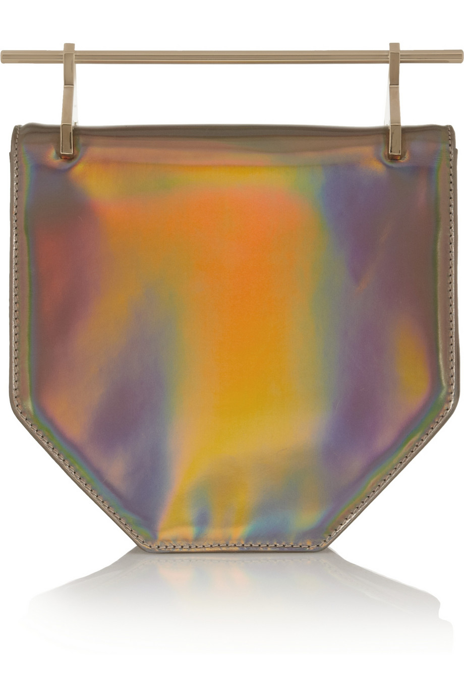 M2malletier Amor Fati Holographic Leather Clutch In