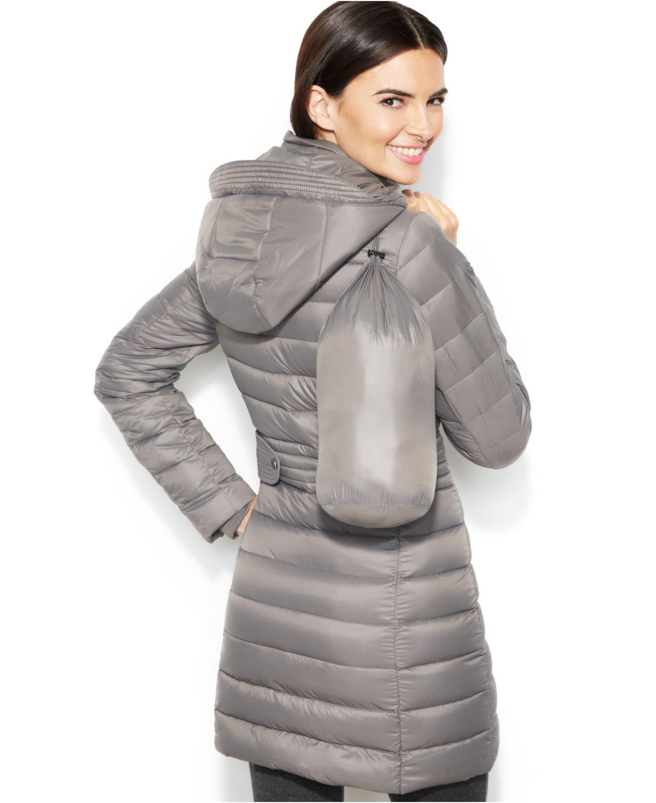 a7fc89241 INC International Concepts Gray Hooded Quilted Packable Down Puffer Coat