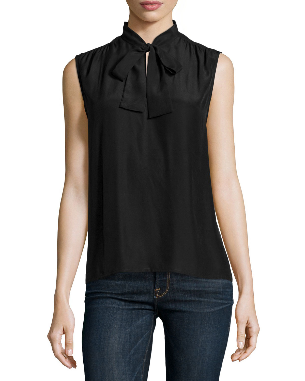Frame Le Sleeveless Neck Tie Shirt In Black Lyst