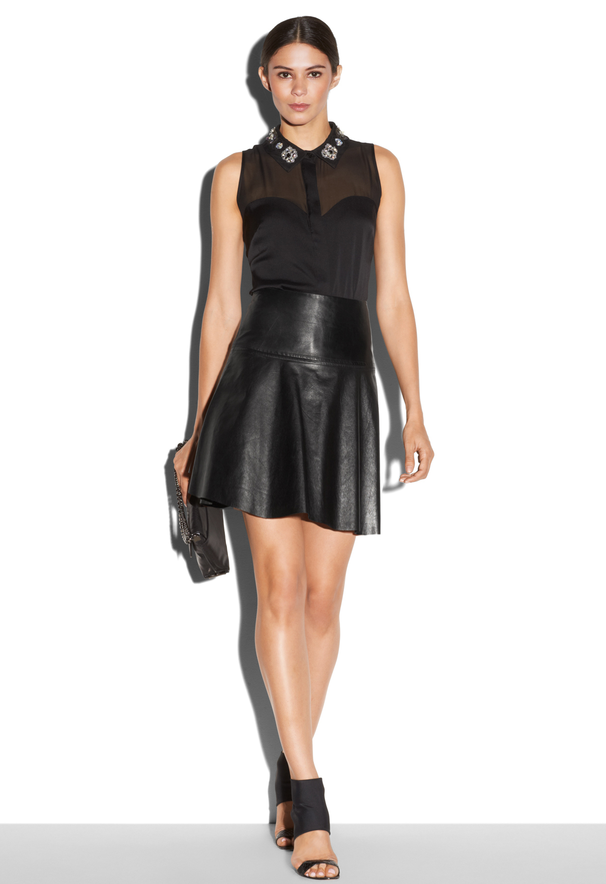 milly emmy leather flare skirt in black lyst