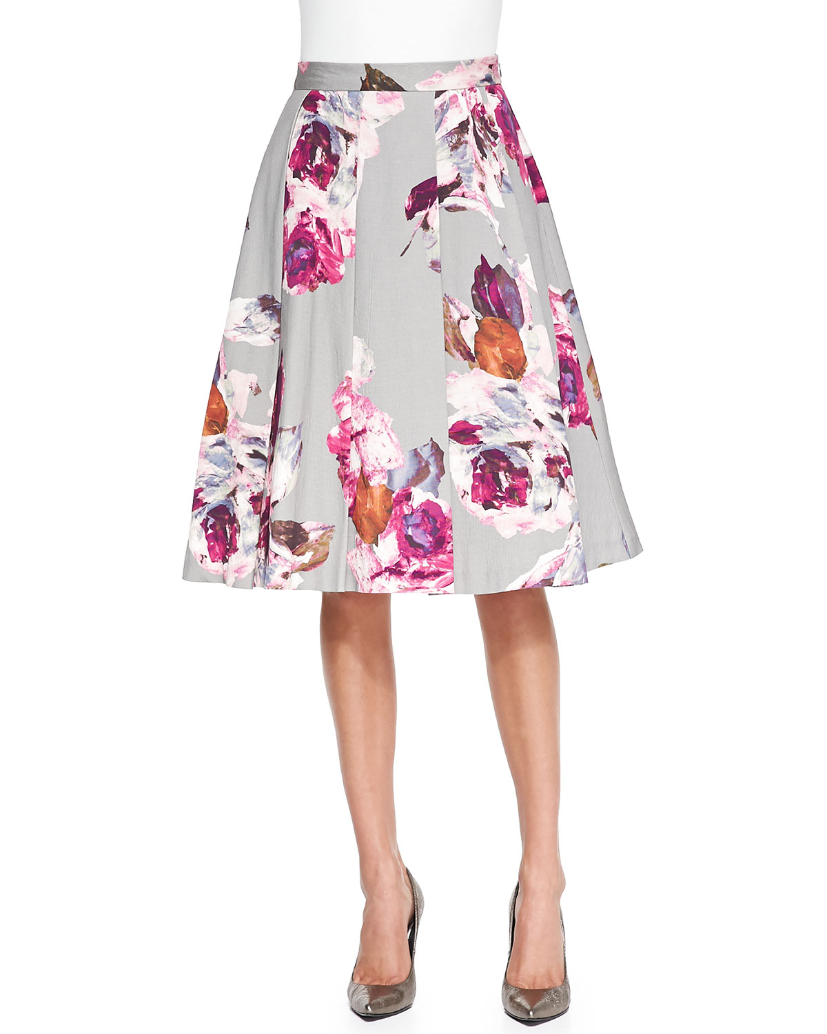 milan pleated floral print skirt in multicolor
