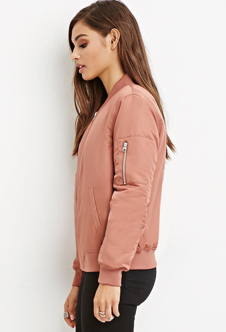 3416a0190 Forever 21 Quilted Bomber Jacket in Pink - Lyst