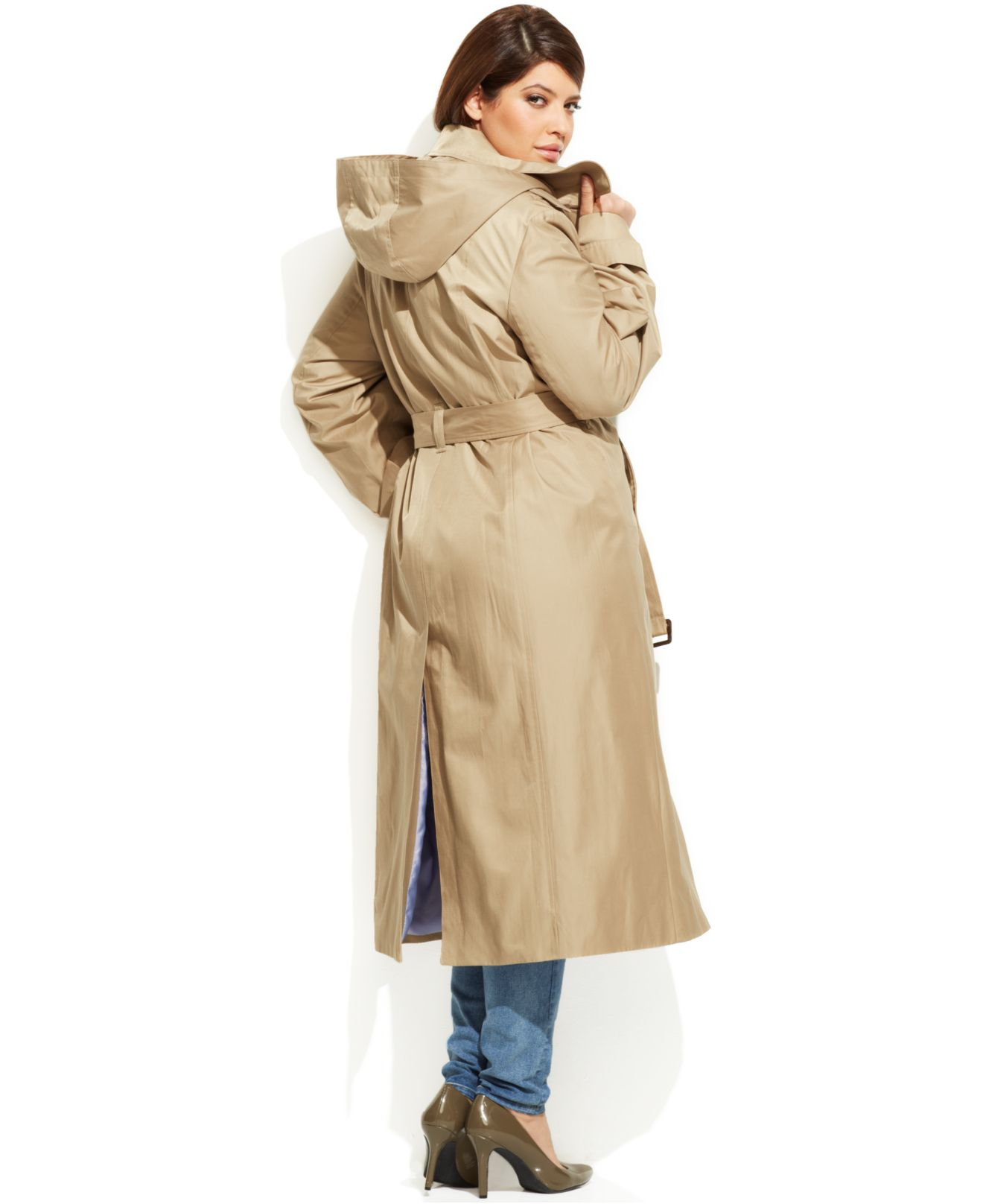 bc15699d940e8 Lyst - London Fog Plus Size Hooded Belted Maxi Trench Coat in Natural