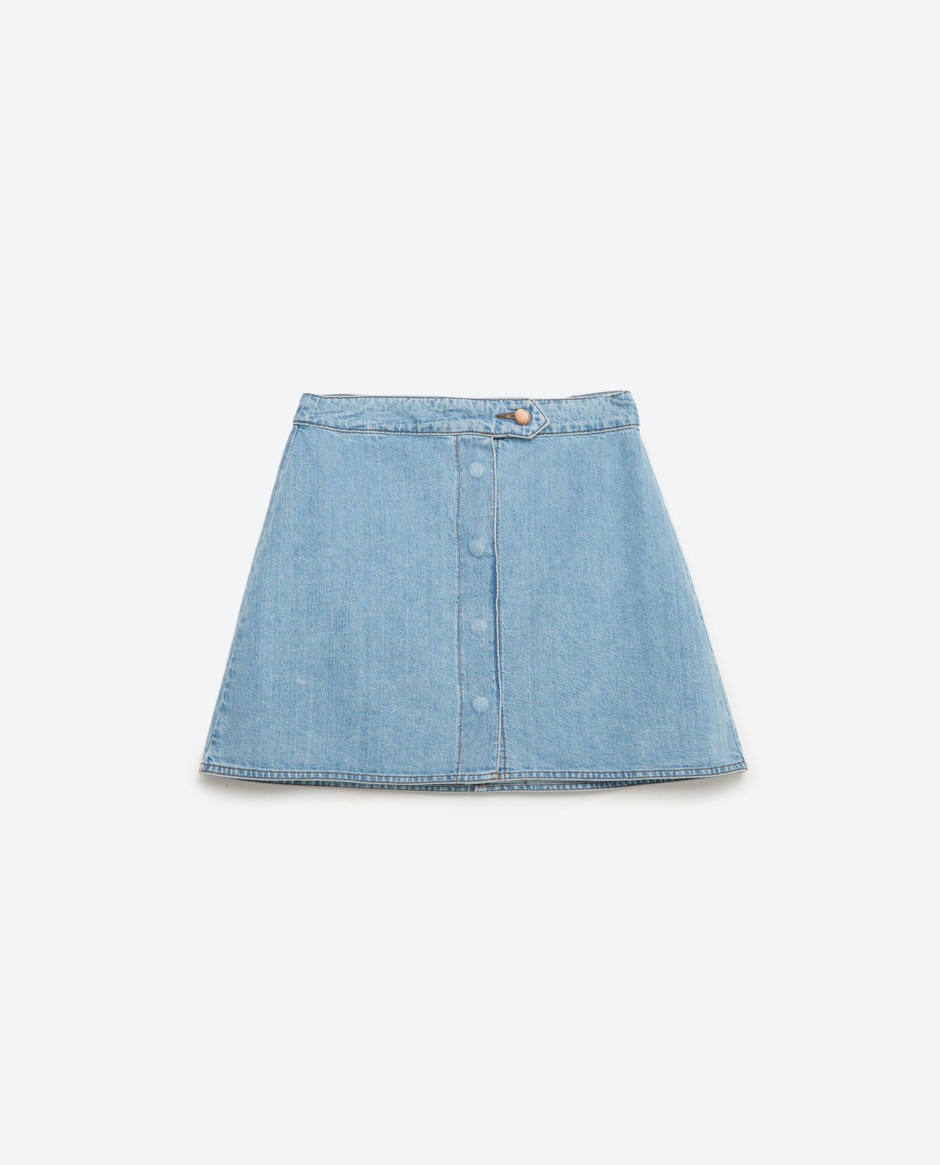 zara mini denim skirt in blue lyst