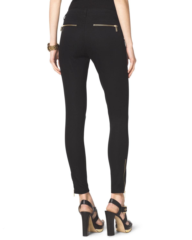 Michael kors Michael Zipper Skinny Jeans in Black | Lyst