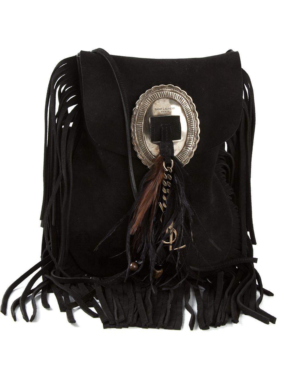 6387f18cc98a Saint Laurent Anita Leather Shoulder Bag in Black - Lyst