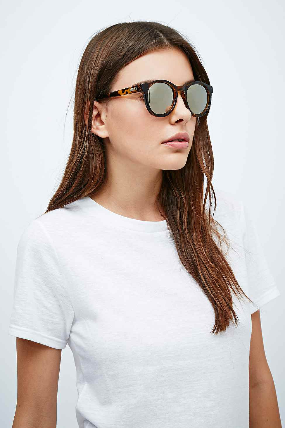 Le Specs Hey Macarena Mirror Lens Sunglasses In Tortoiseshell in Brown
