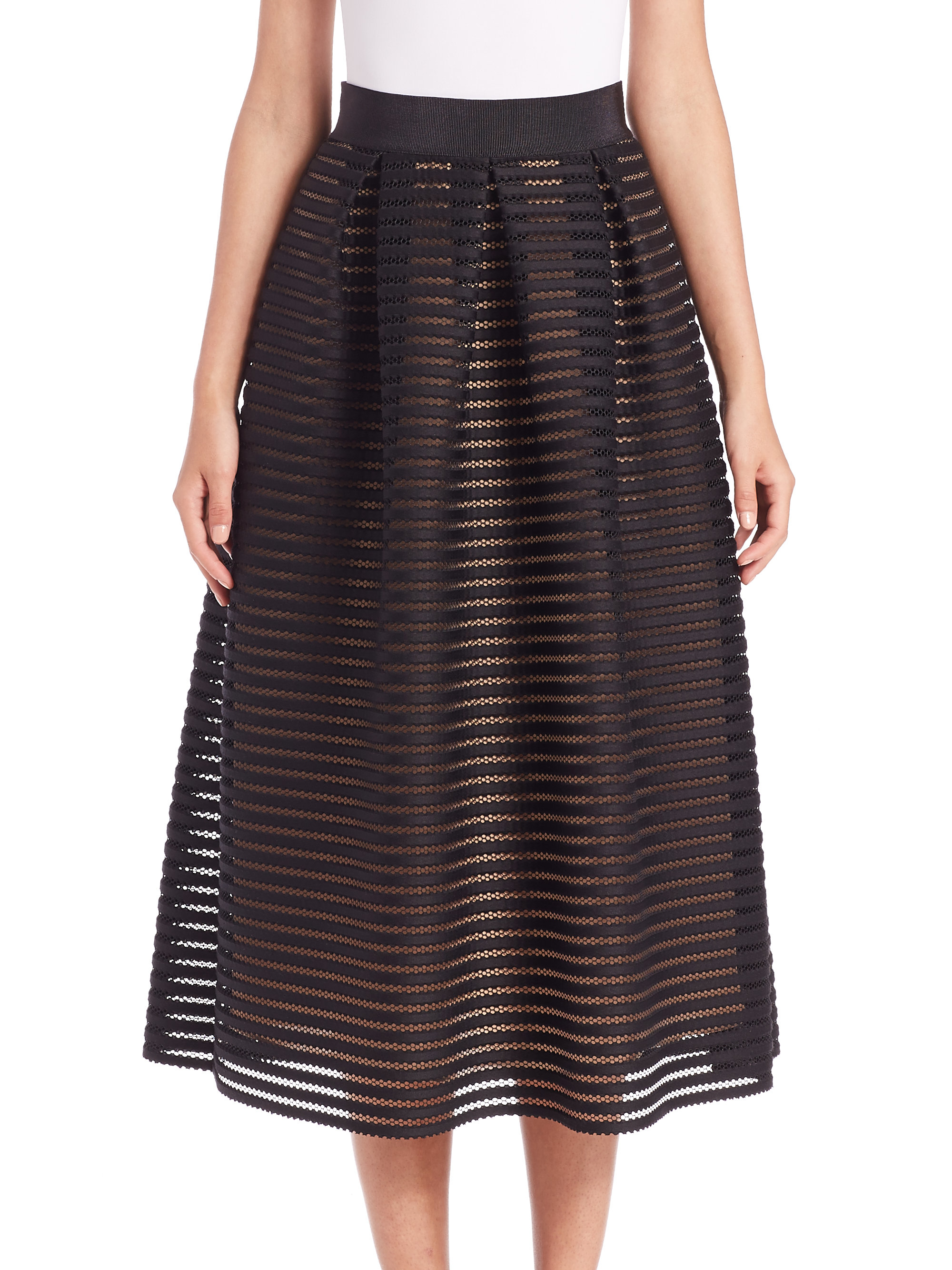 Abs by allen schwartz Striped Mesh Midi Skirt in Black | Lyst