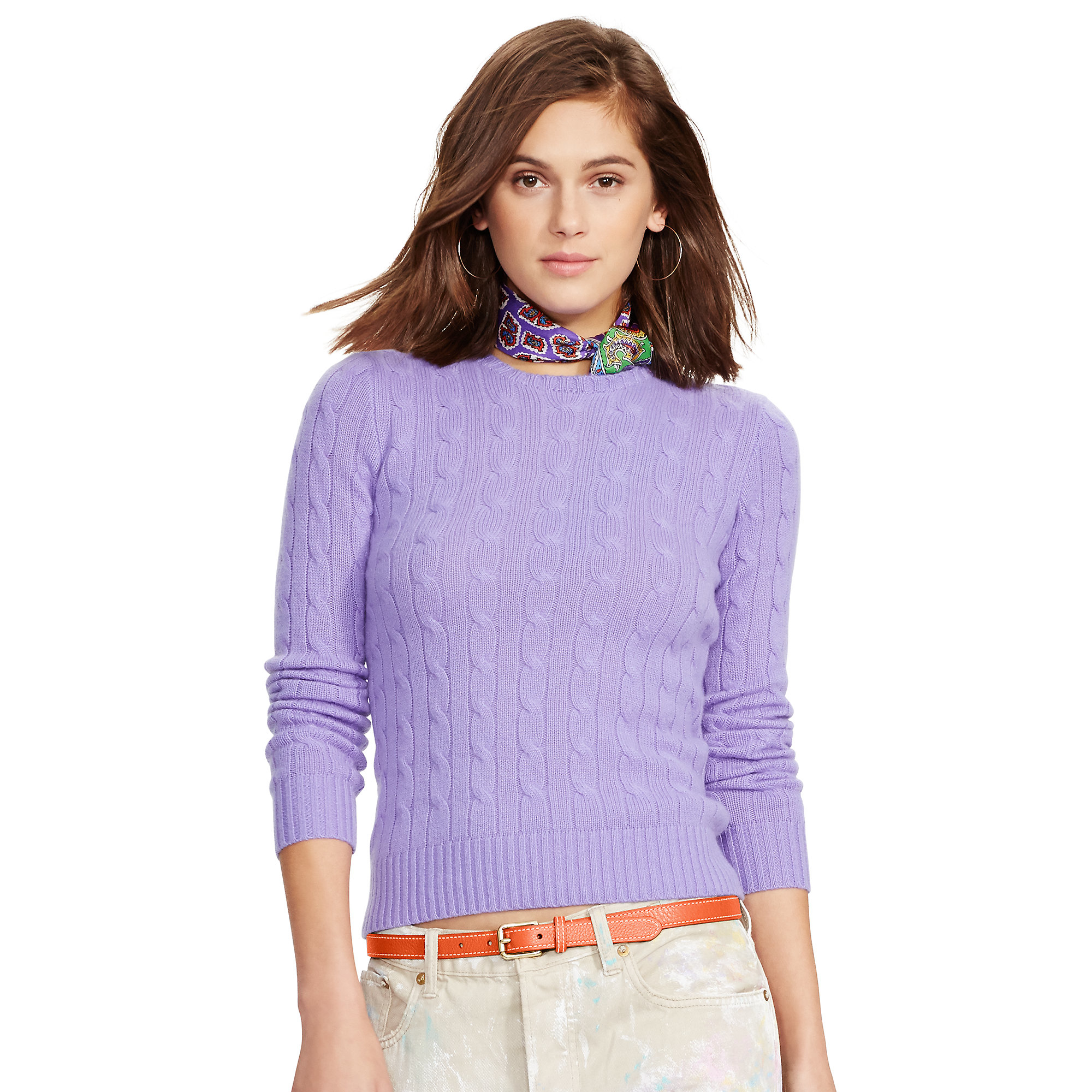 0f23597271 Polo Ralph Lauren Purple Slim Cable Cashmere Sweater