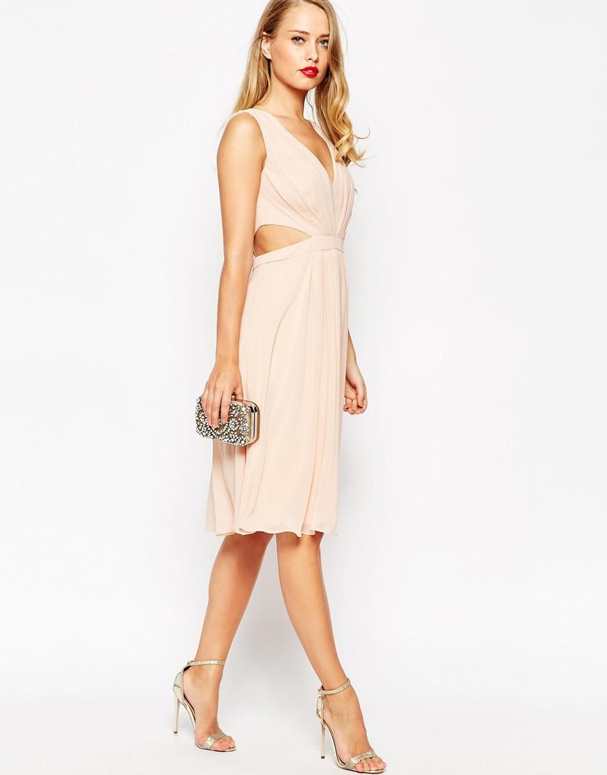 Side Cut Out Midi Dress with Tie Detail - Lilac Asos lo7hIahZ