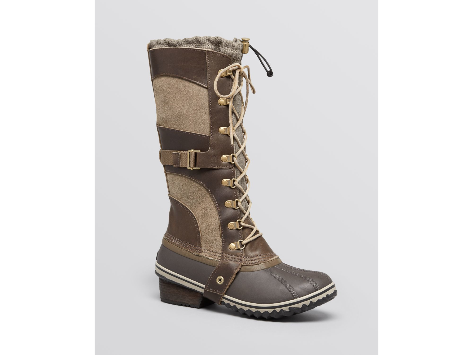 Sorel Conquest Carly Lace Up Cold Weather Boots in Green