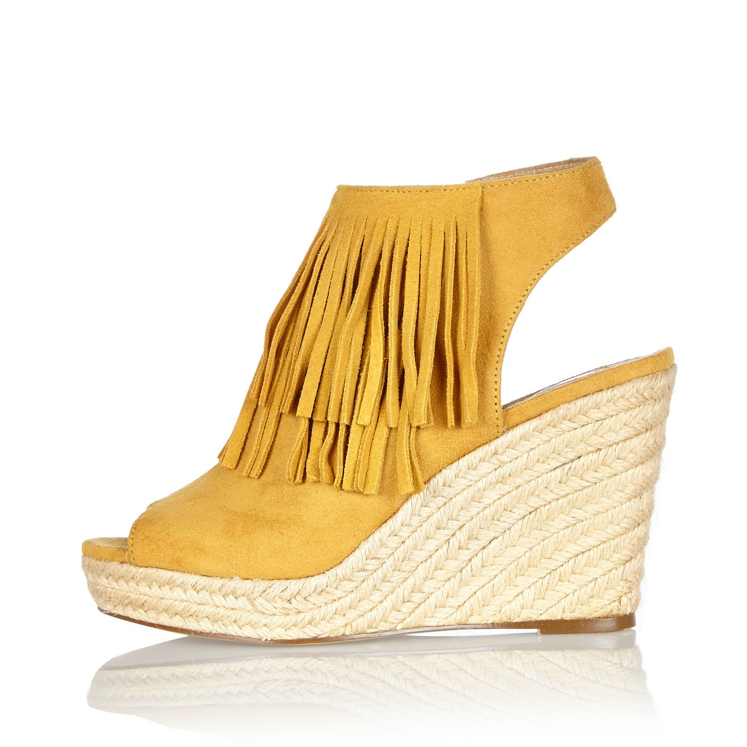 d82417db0a3a River Island Yellow Fringed Slingback Wedges in Yellow - Lyst