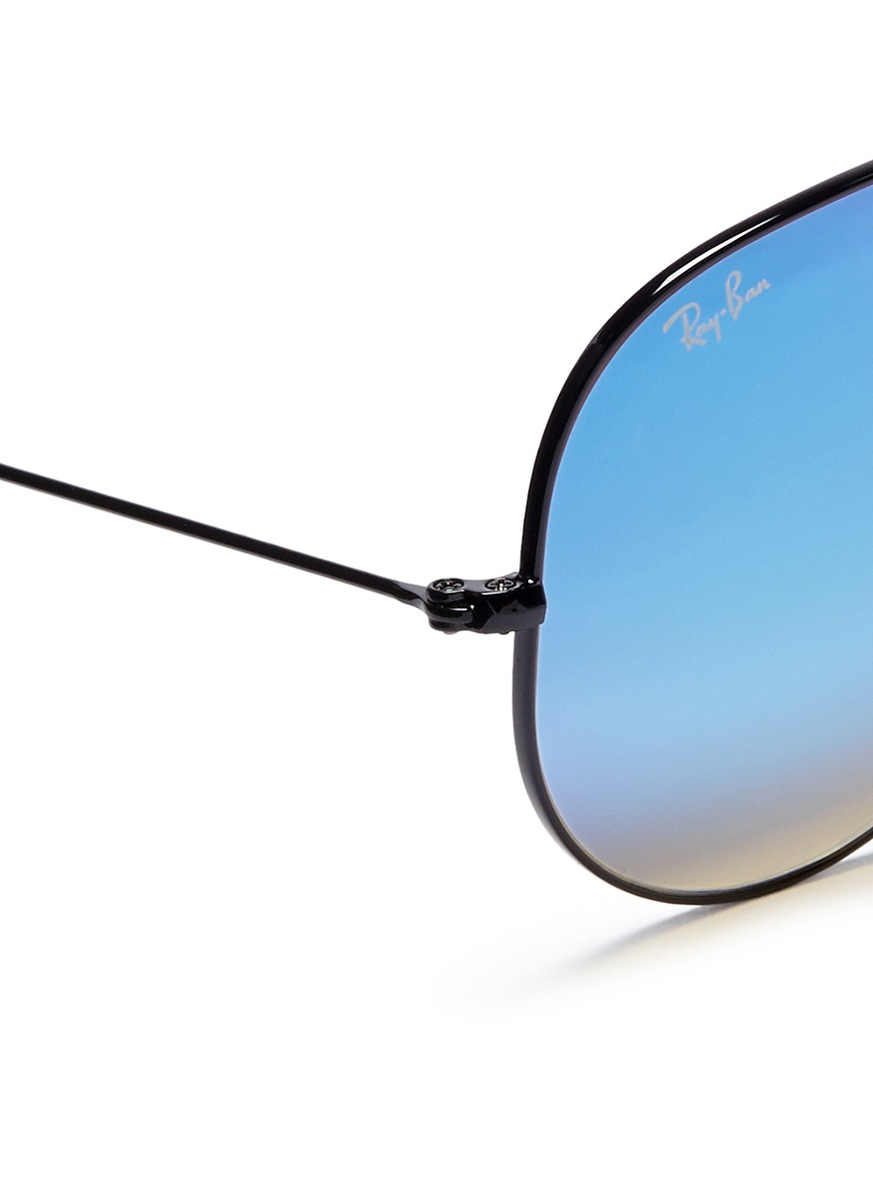 Ray ban 39 aviator large metal 39 mirror sunglasses in blue for Mirror sunglasses