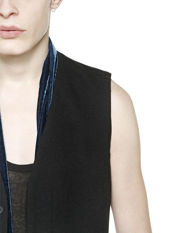 Haider Ackermann Stretch Wool Gabardine Vest in Black