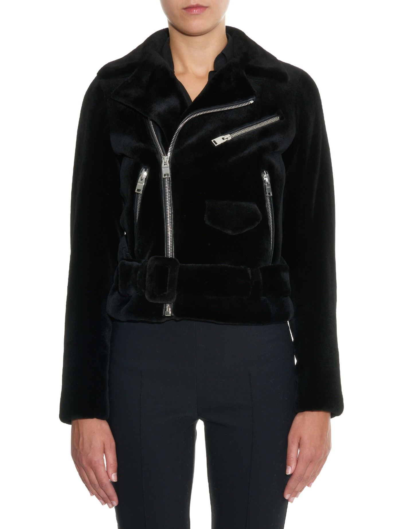 Balenciaga Mink-Fur Biker Jacket in Black | Lyst