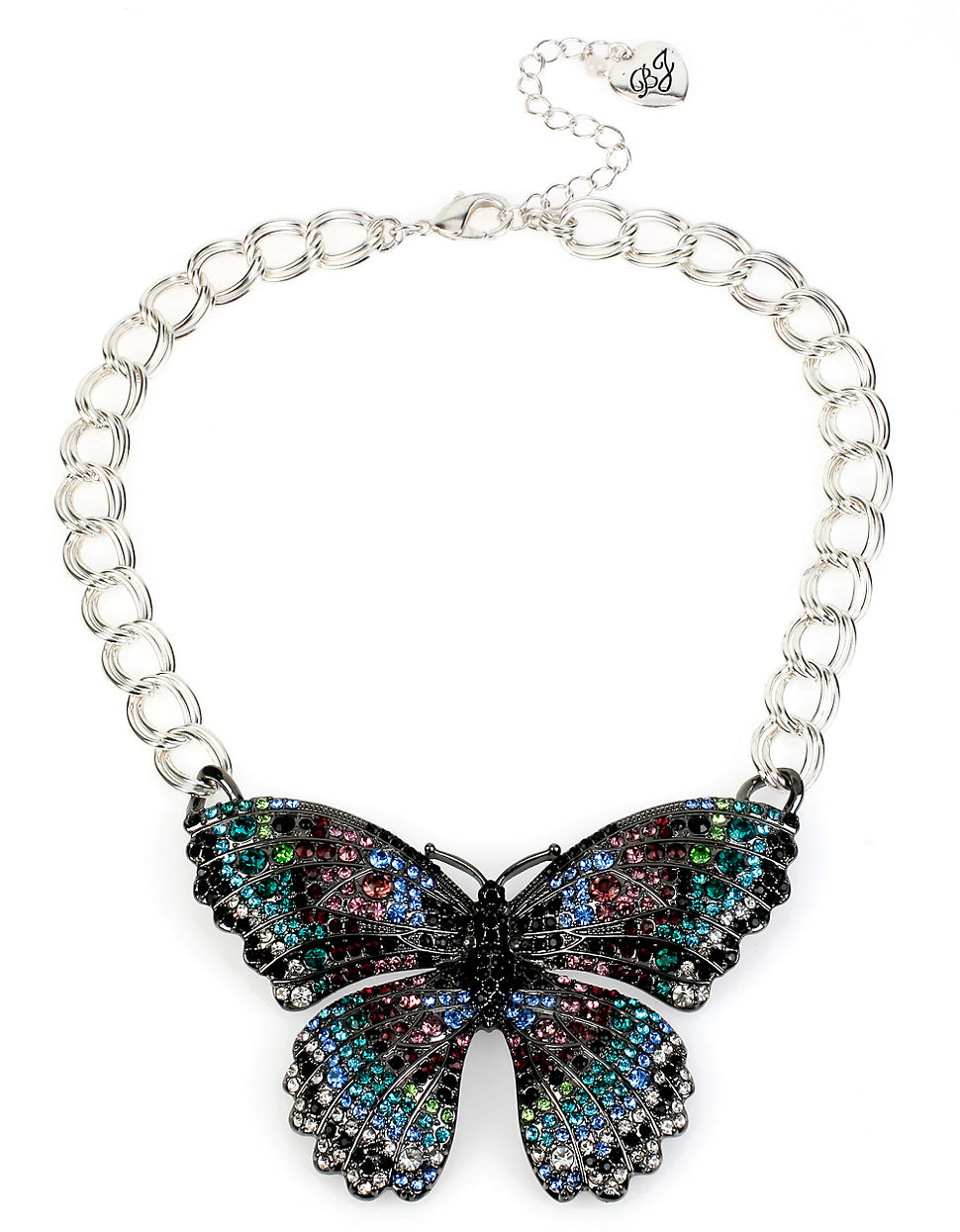 Betsey Johnson Butterfly Effect Pave Necklace Lyst