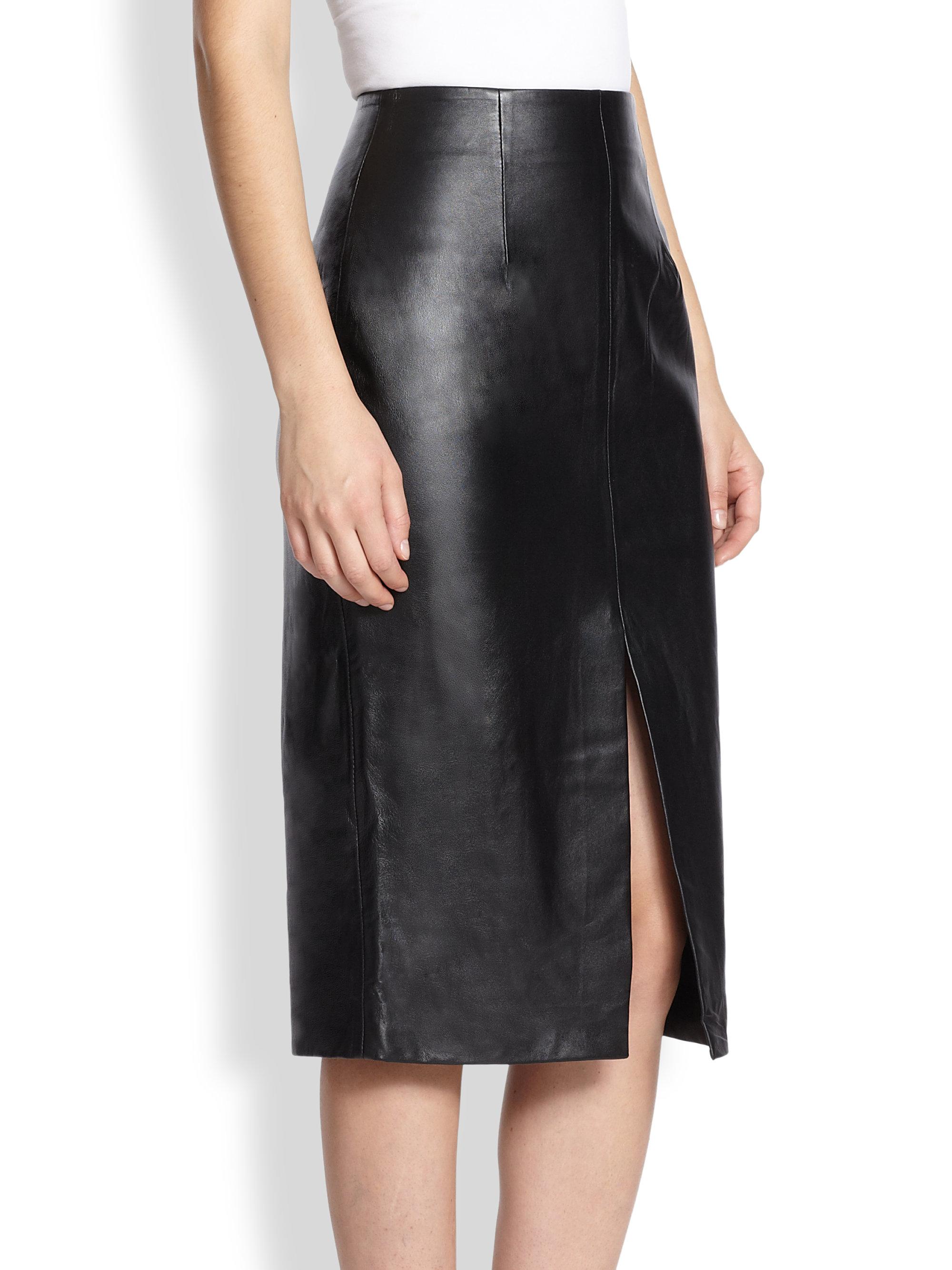 Black Leather Skirt With Split Fashion Skirts