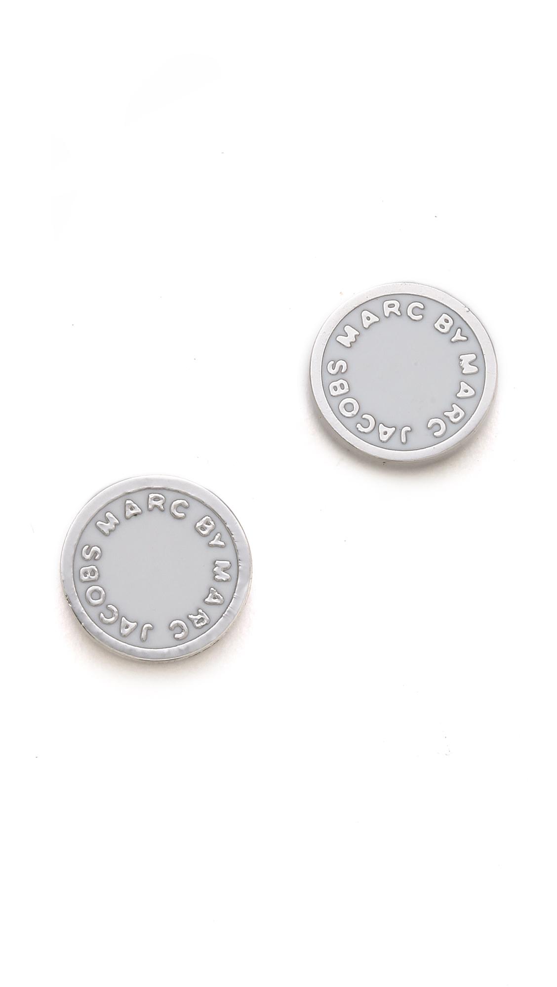 Marc By Marc Jacobs Logo Disc Stud Earrings In White Lyst