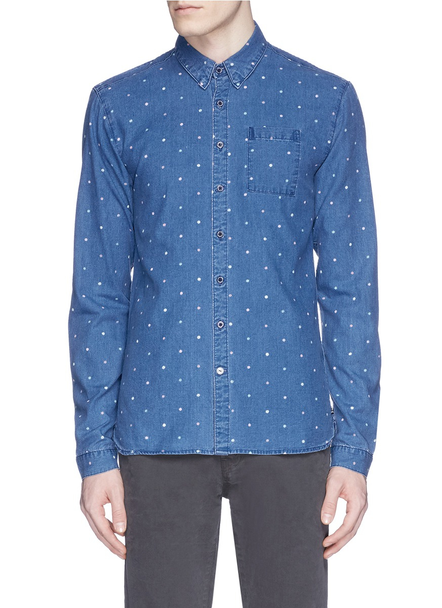 Lyst scotch soda polka dot print chambray shirt in for Chambray 7 s