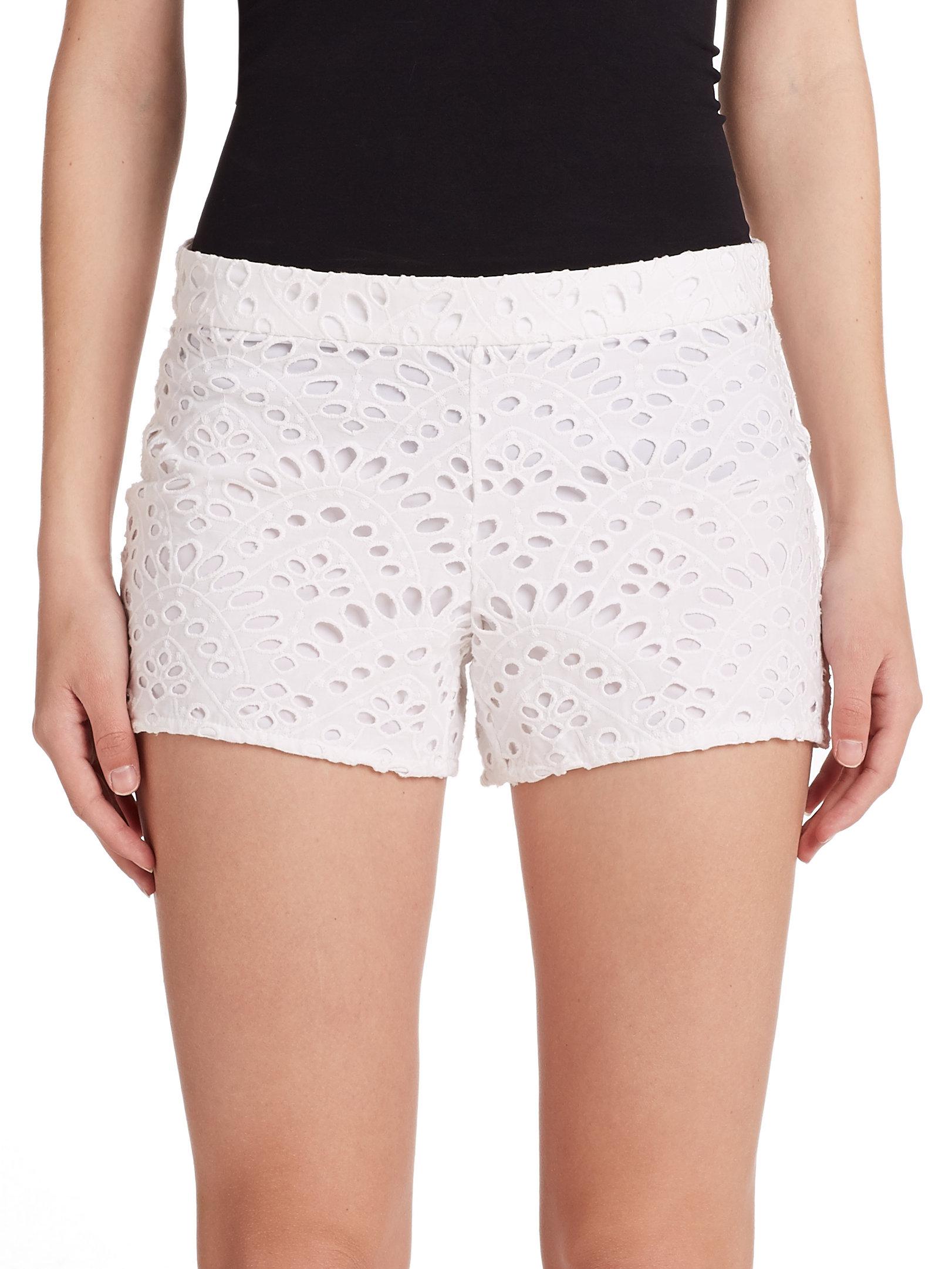 Alice   olivia Cotton Eyelet Shorts in White | Lyst