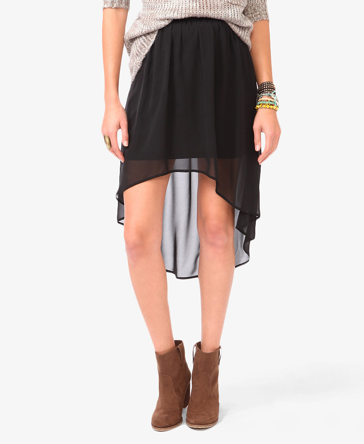 forever 21 high low chiffon skirt in black lyst