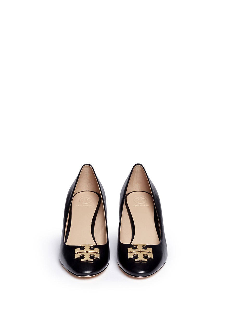 Tory Burch Raleigh Metal Logo Leather Wedge Pumps In