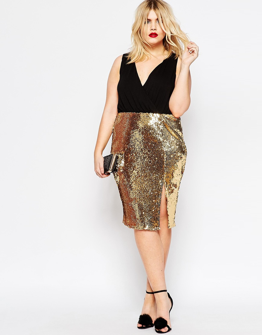 asos curve sequin skirt midi dress with crop top in gold