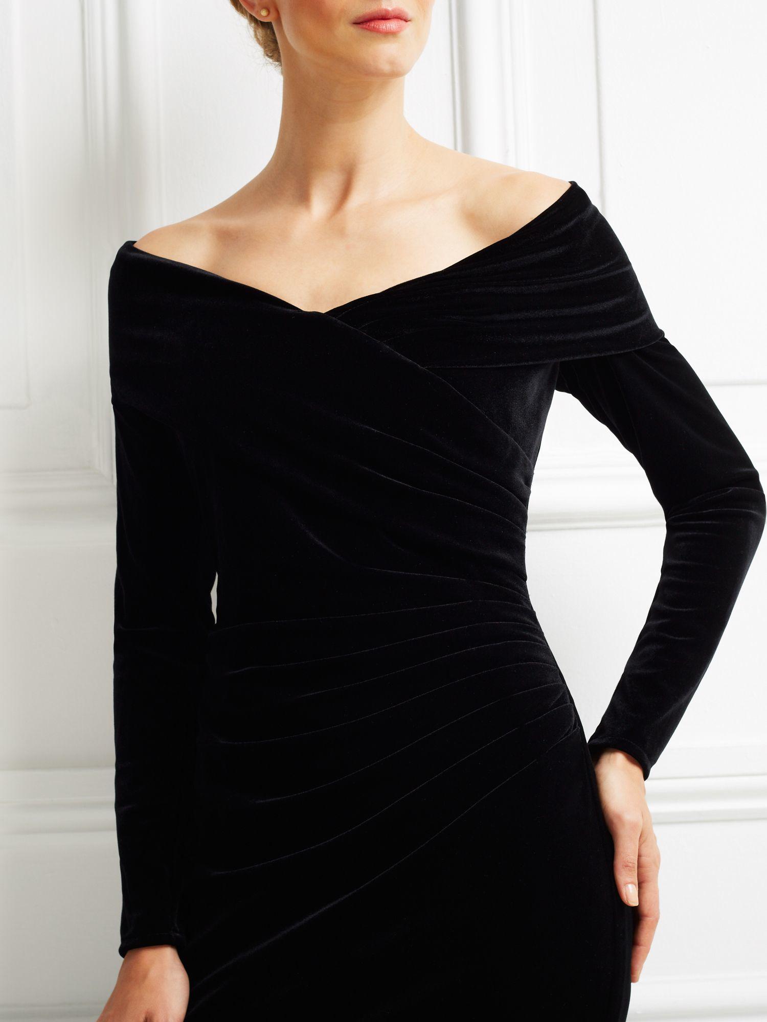Jacques Vert Velvet Bardot Long Dress In Black Lyst