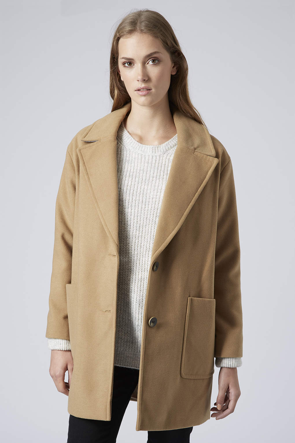 Topshop Drop Shoulder Boyfriend Coat in Brown | Lyst