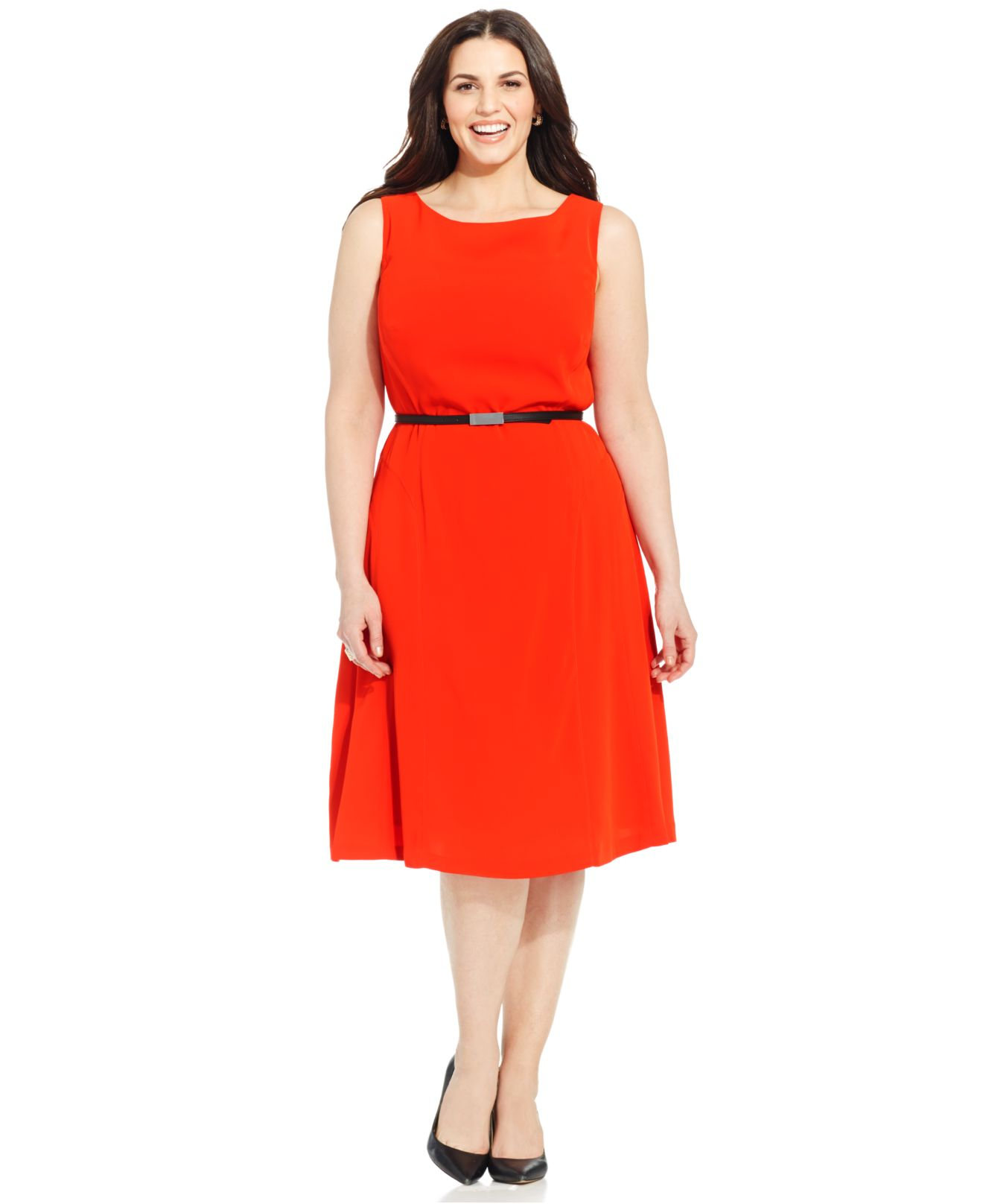 Collection Plus Size Belted A-Line Dress