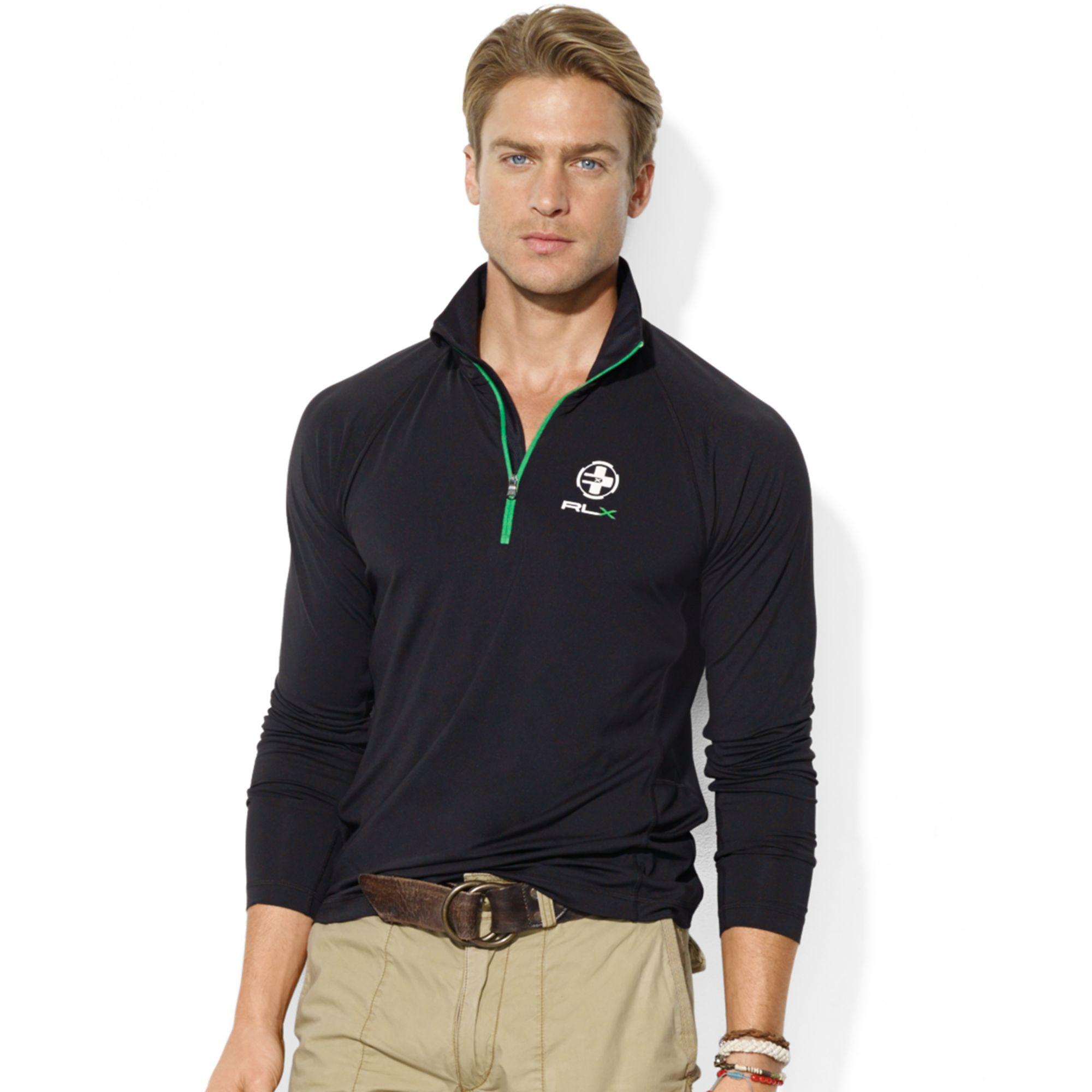 Ralph lauren Polo Rlx Halfzip Mock Neck Jersey Pullover in Black for Men (Polo Black