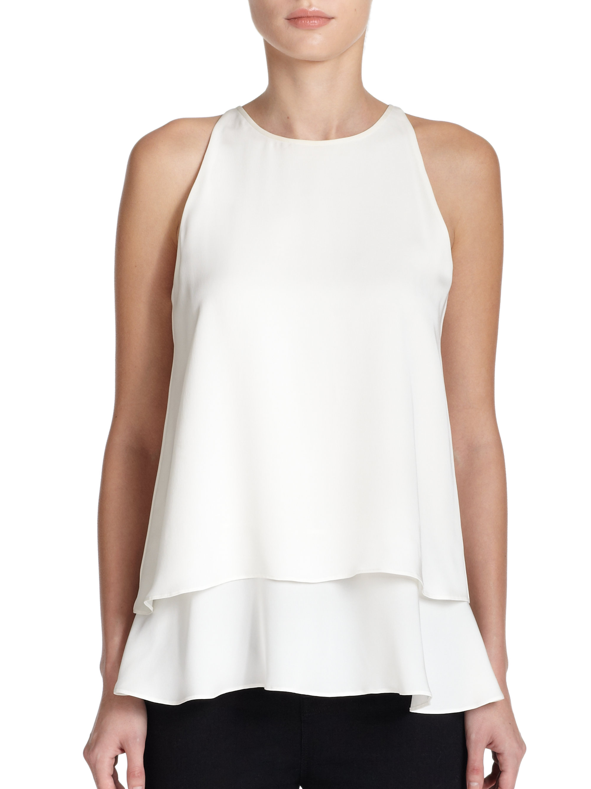 Lyst Theory Falice Silk Double Tiered Top In White