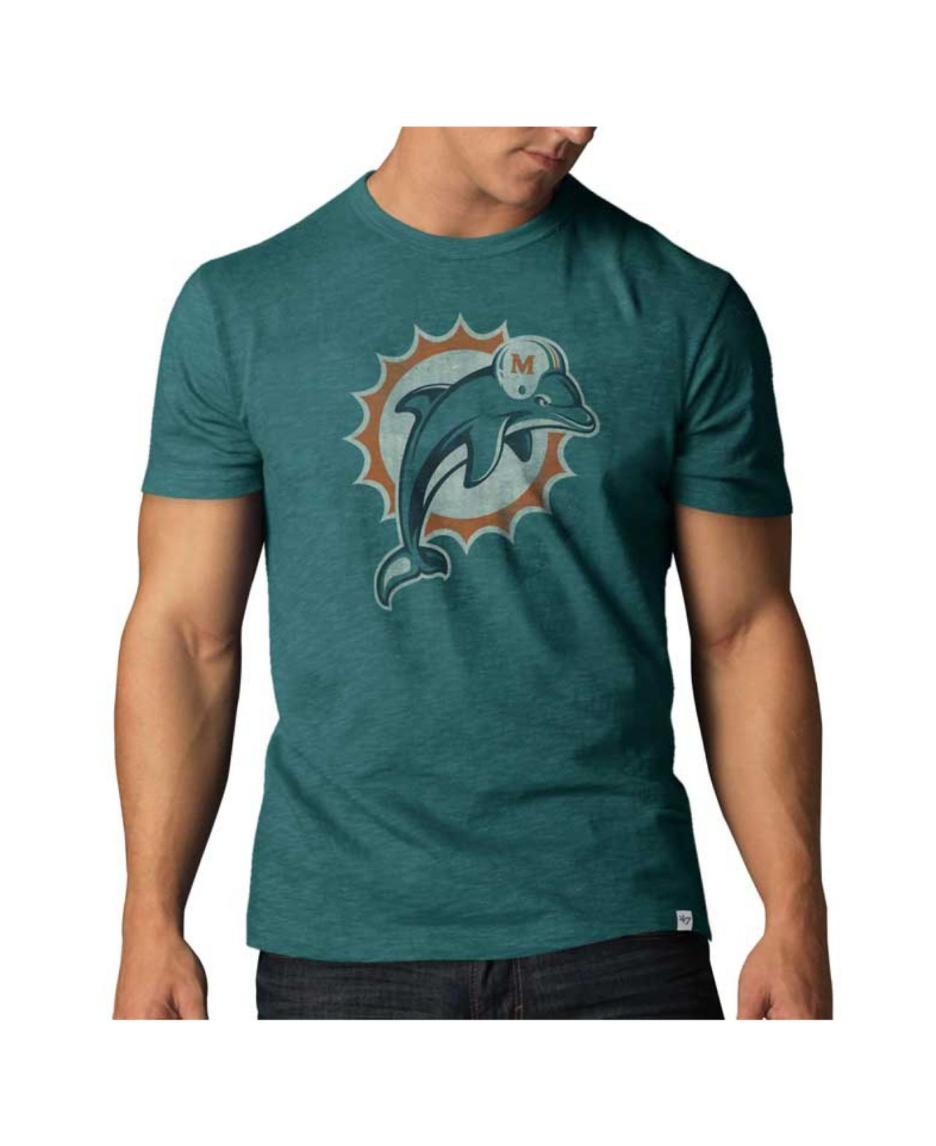 47 brand men 39 s miami dolphins logo scrum t shirt in blue for Dolphins t shirt new logo