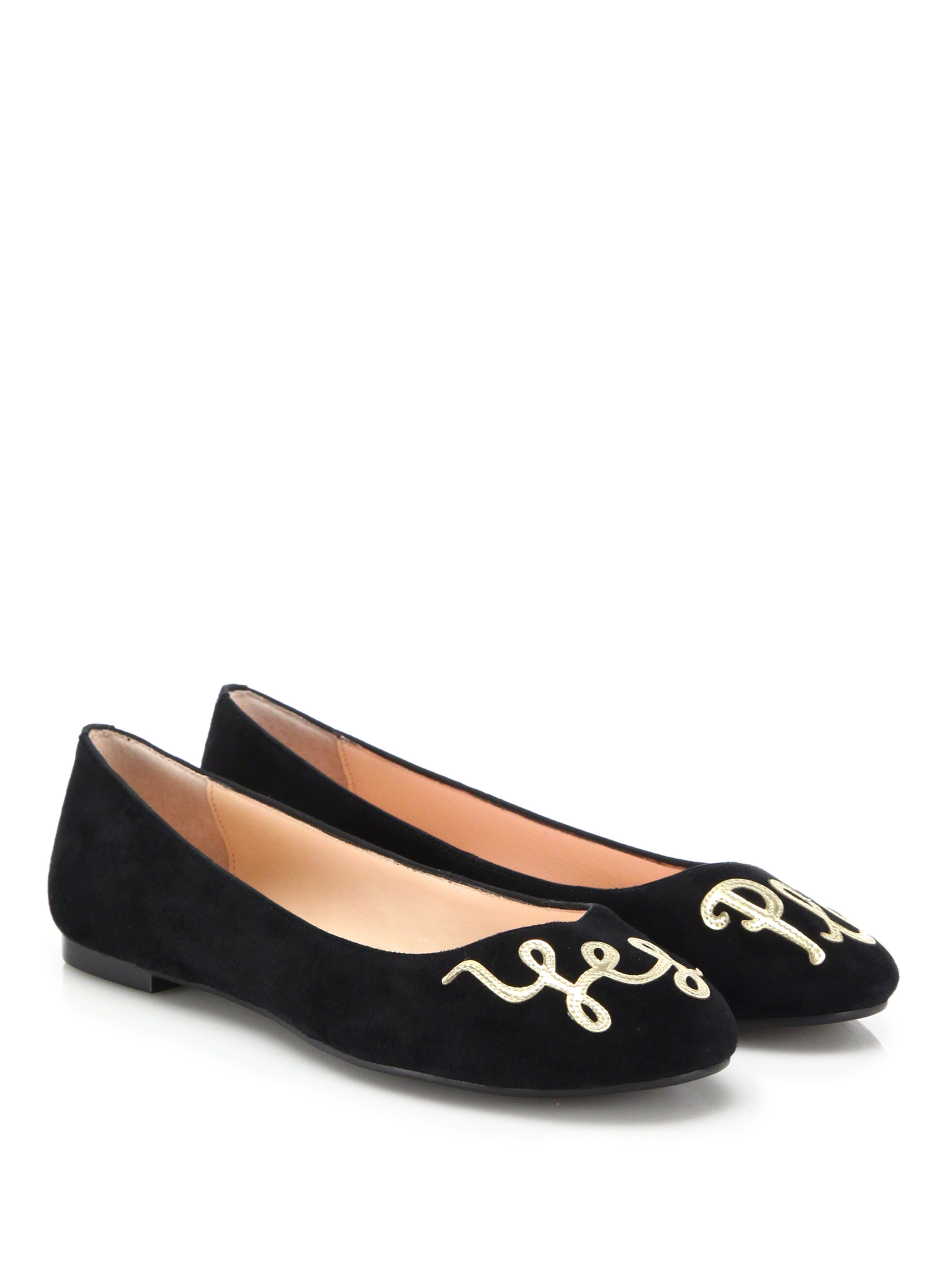 Lyst Kate Spade New York Embroidered Suede Flats In Black