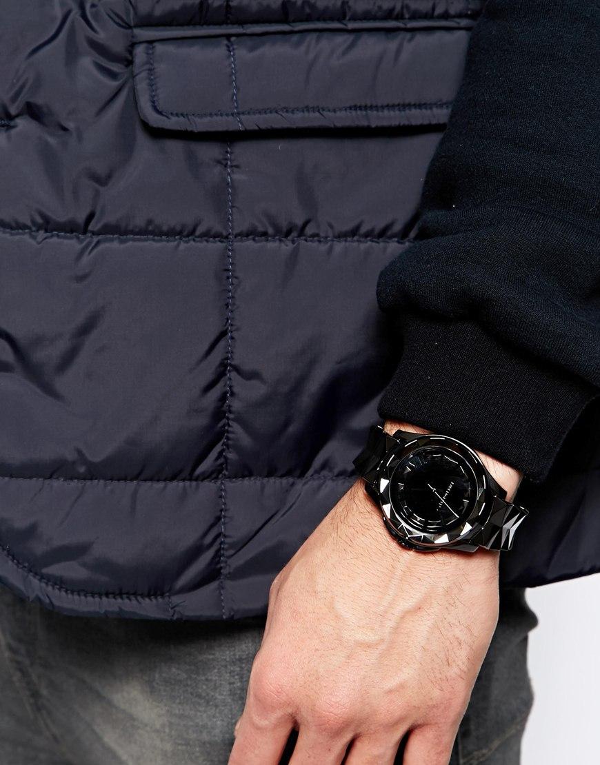 karl lagerfeld black bracelet strap watch in black for men lyst gallery