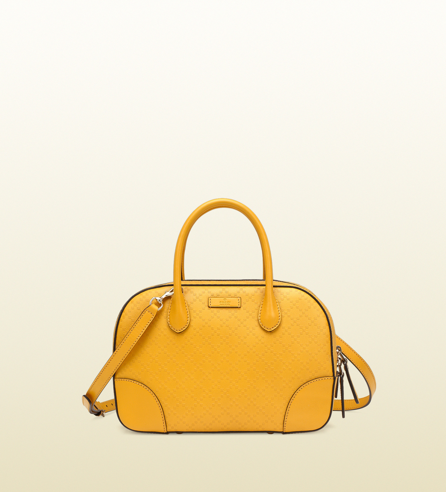 2581e3123fe3a4 Gucci Bright Diamante Leather Top Handle Bag in Yellow - Lyst