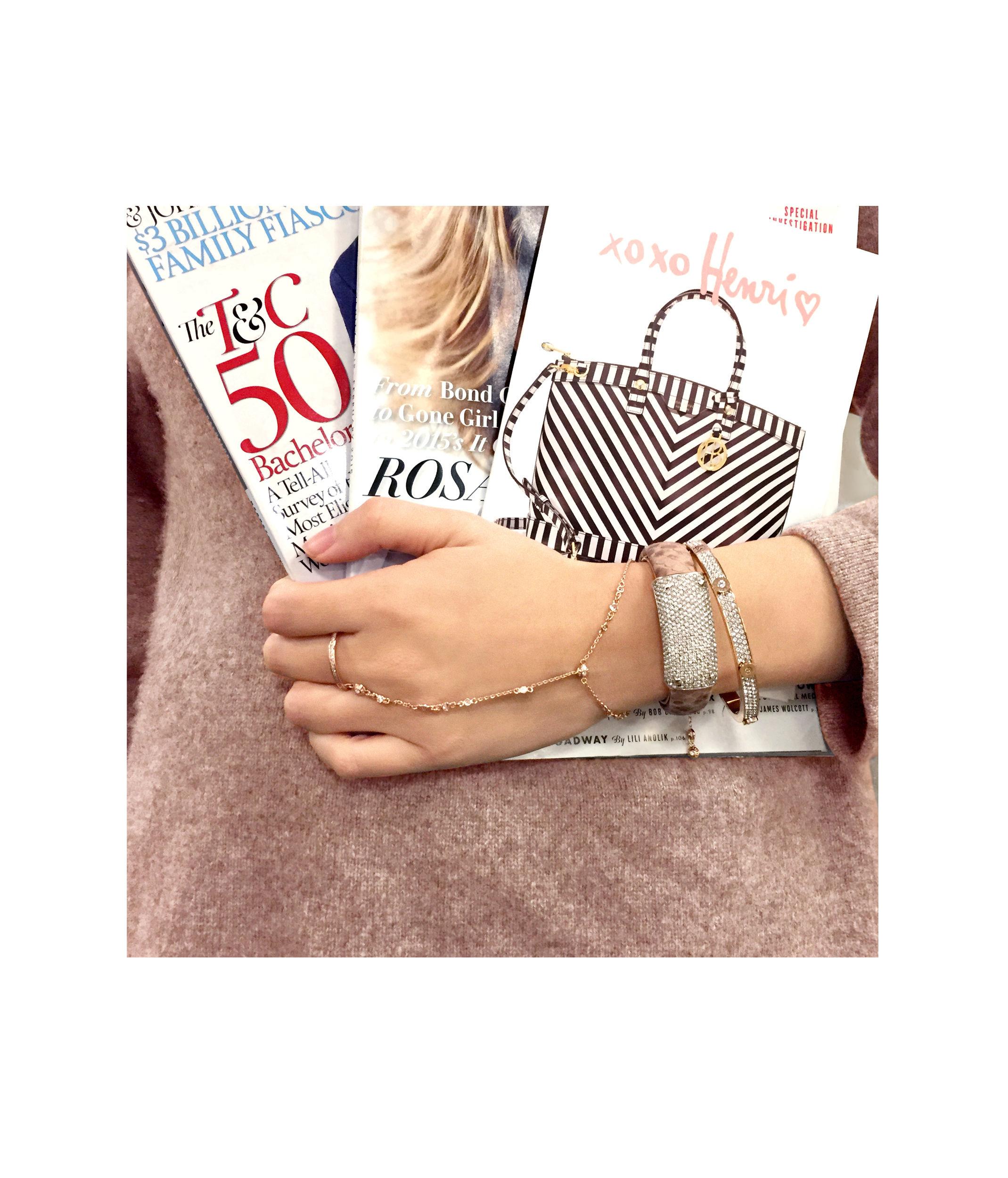 Lyst Henri Bendel Miss Bendel Pave Bangle Bracelet In Pink