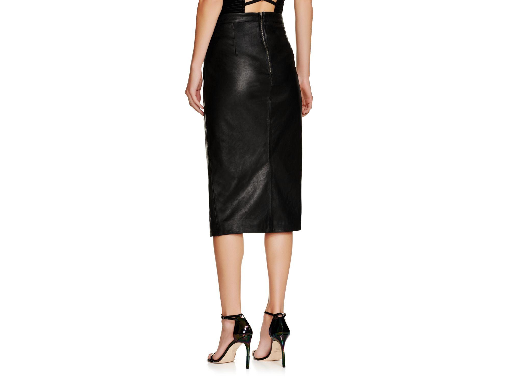 bardot faux leather side slit pencil skirt in black lyst