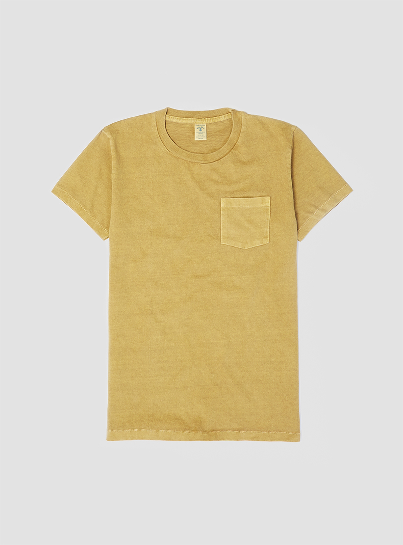 velva sheen pigment dyed pocket t shirt mustard in yellow. Black Bedroom Furniture Sets. Home Design Ideas