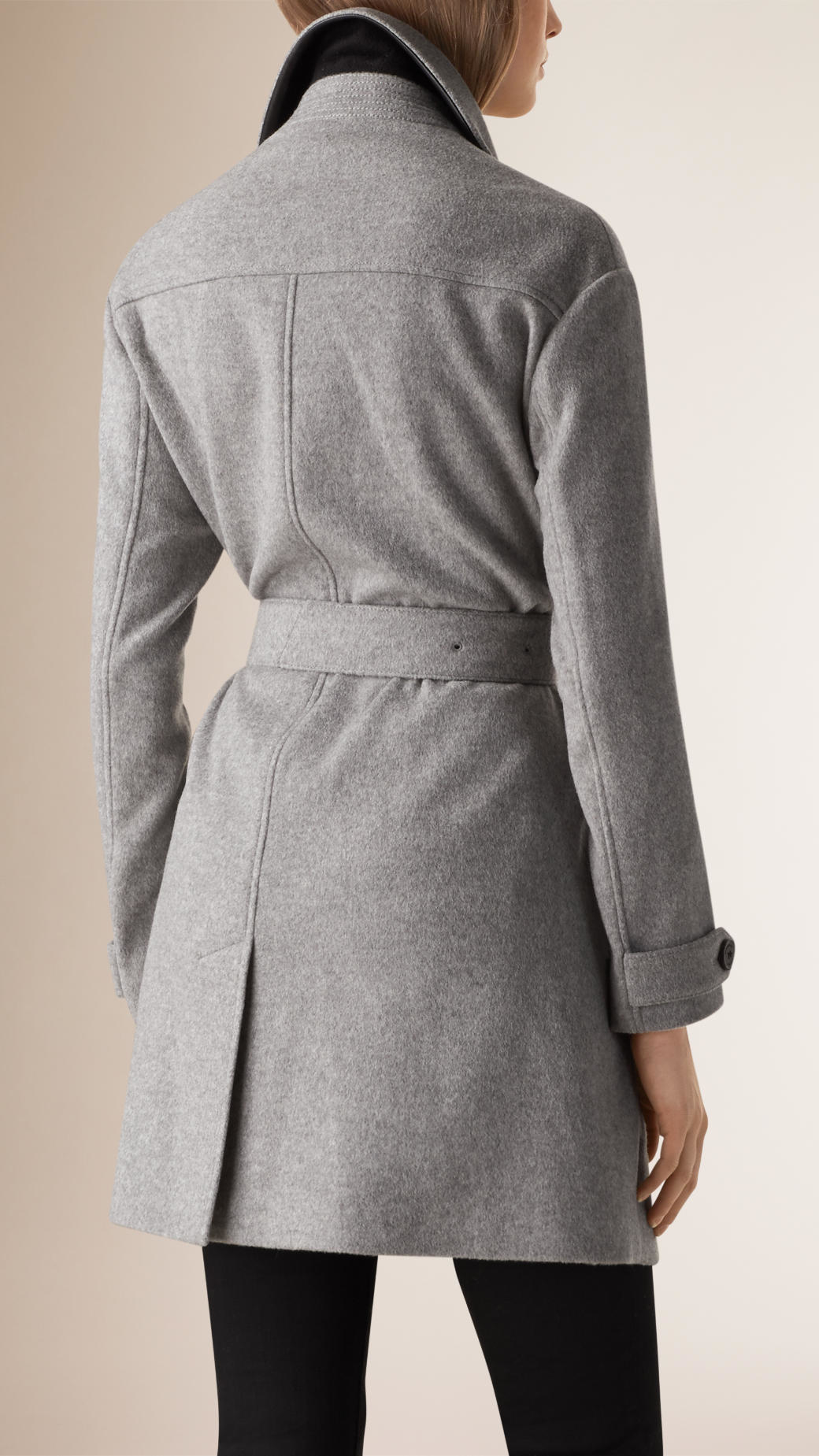 Burberry Lambskin Trim Wool Cashmere Wrap Coat In Gray Lyst