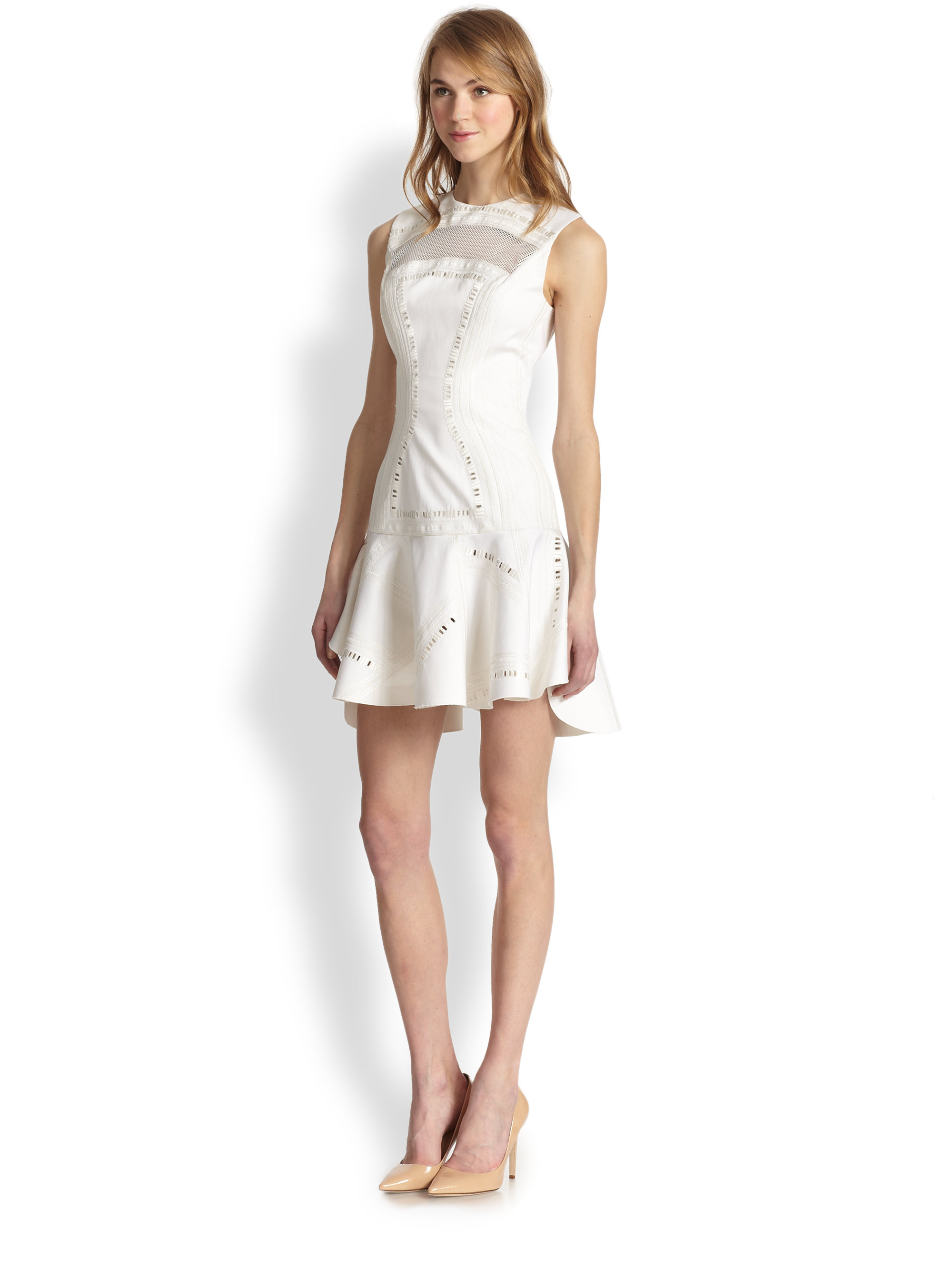 Robert Rodriguez Kuba Embroidered Drop Waist Dress In